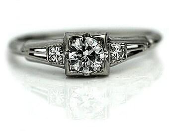 Antique 1930's Art Deco Engagement Ring Antique Art Deco .50ct Old European Cut Diamond in 18Kt White Gold Vintage Ring Size 5.75!