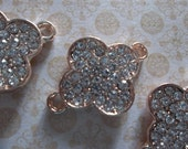 Rose Gold 4 Leaf Clover with Clear Glass Rhinestones - Jewelry Connectors Links Charms Pendants - 20mm x 28mm - 3 pieces