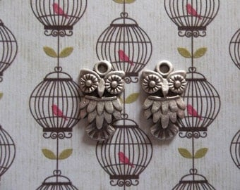 Mini Feathered Owl Charms Pendants or Earring Findings - Artisan Handmade - Oxidized Silver Plated Pewter - Qty 4