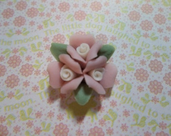 Ceramic Roses Triple Flower Cluster of Sweet Pink Ceramic Roses Flat Back 18mm Cabochons with Pink Center and Green Leaves - Qty 2