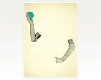 Surreal Collage, Magic, Book Page Art, Minimalist - Disappearing Act