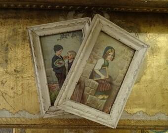 Vintage Shabby Cottage Chic Pr German Framed Pictures