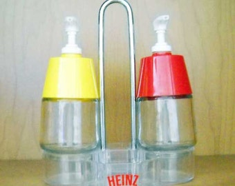 Vintage Catsup Mustard Dispensers and Holder