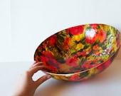 Vintage Plastic Hawaiian Floral Serving Bowl