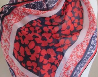 """SALE!!  Beautiful Red Blue Sheer Chiffon Scarf - 14 x 40"""" Long"""