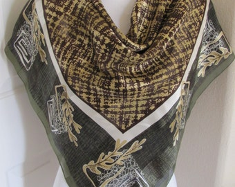 "Wow Kenneth Cole Green Brown So Soft Silk Scarf  - 34"" Inch 88cm Square - Best of the Best"