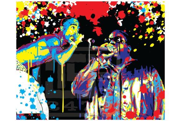 Wall Art Home Decor Tupac Shakur and Biggie Pop Art Tupac And Biggie Painting