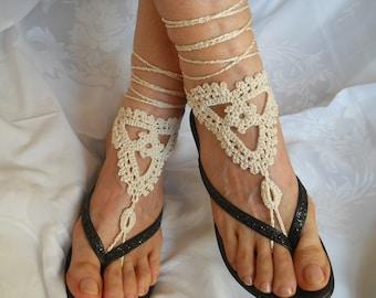 SALE 45% OFF Crochet Barefoot Sandals Summer Sandles Shoes Beads Victorian Anklet Foot Women Accessories Beach Wear Gift Under 10 Dollar