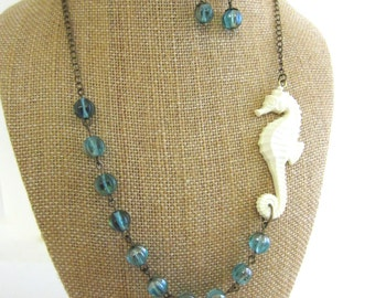 Statement Necklace Seahorse Necklace Beach Necklace Beach Jewelry Aqua Blue Nautical Jewelry Sea Horse Jewelry