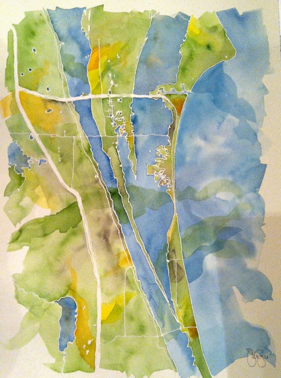 Grand Scale, Custom Watercolor Map of Your Favorite Lake, Bay, or Island 14x20 in