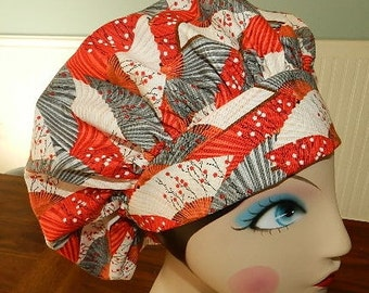 Red and Grey Oriental Fans  Banded Bouffant Surgical Cap