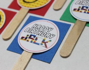 Building block birthday cupcake toppers (set of 12) - cupcake topper, cupcake decoration, building brick party, block birthday party