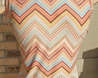 Cream Peach Cheveron Lycra Spandex Fabric 2yds