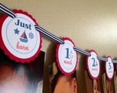 Sailing Boy Collection: Just Born/0-12 Mos Nautical First Birthday Photo Picture Banner First Year Monthly Sea Sailboat Sail Anchor Whale V2