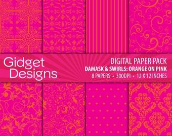 Orange and Pink Digital Paper Pack Pink and Orange Damask Patterns Scrapbook Paper Summer Digital Paper