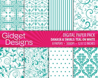 Teal Turquoise Digital Paper Pack Damask Patterns Scrapbook Paper Teal Green Printable Paper Instant Download