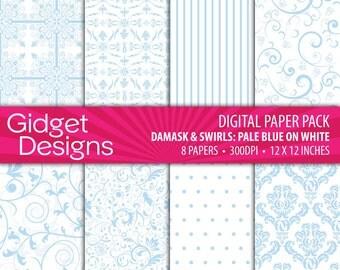 Blue Damask Digital Paper Pack Dusk Blue Instant Download Printable