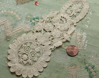 Antique stunning handmade brussels lace applique trim collar piece point de gaze doll dress french trim rose flower