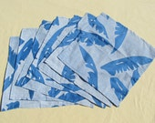 NAPL1597E 50% OFF  Blue Feather Pattern Cloth Napkin, Set of 6, Napkin, Napkins, Cloth Napkin, Cloth Napkins, Napkin Sets, Napkin Set,