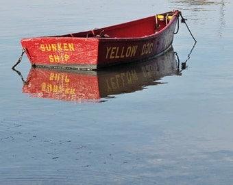 Nantucket Art, Boat Photography, Square Prints, Nautical Nantucket, Fine Art Prints, Boating Decor, Red Nautical Home Decor, New England Art