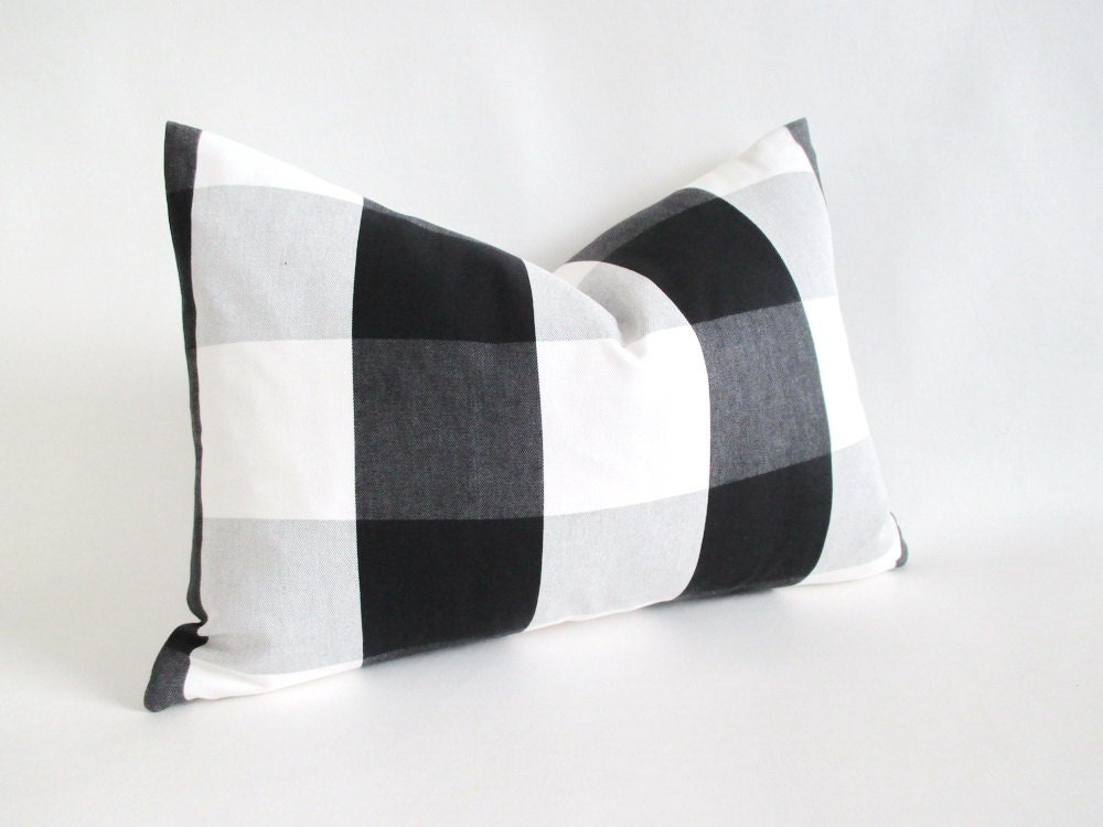 Lumbar Pillow Cover Buffalo Check Black White Grey Zipper 12 x