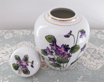 Vintage 1960's  LJ Originals Japan  Handpainted Ginger Jar, Violets Pattern with Gold Trim - Oriental Style - Collectable - Cottage Chic