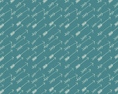 Teal and White Arrow Stripe Fabric, Hello Bear by Bonnie Christine Art Gallery Fabrics, Adventure in Springs Jersey KNIT, 1 yard
