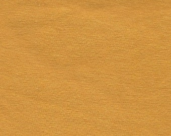 Solid Mustard Yellow 9oz Cotton Lycra Jersey Knit Fabric, 1 Yard