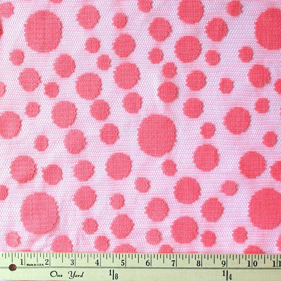 coral mixed polka dot jacquard lace 1 yard by