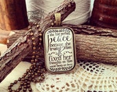 she had perfect peace because she trusted Him & fixed her thoughts on Him (Isaiah 26:3) necklace
