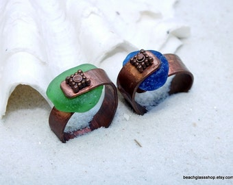 Copper Rings - Sea Glass Rings - Lake Erie Beach Glass