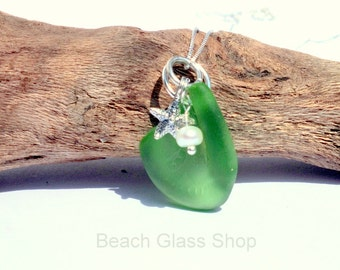 Green Sea Glass Necklace - Sterling Necklace -  Bonfire Glass - Lake Erie Beach Glass - Mermaid Tears Jewelry