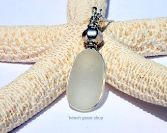 Sterling Silver Necklace - Sea Glass Necklace - Beach Glass - Mermaid Tears Necklace-  Lake Erie Beach Glass