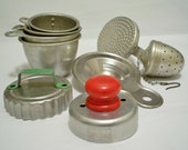 Vintage lot of kitchen collectibles - Metal utensils - Red & green handle utensils - cheesegrits