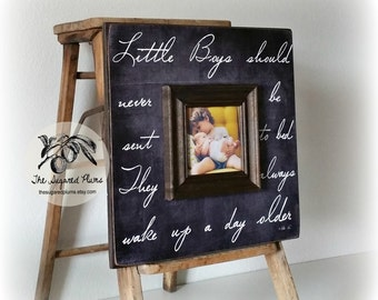 Peter Pan, Baby Boy, First Birthday, New Baby Gift, Little Boys Should Never Be Sent To Bed, Picture Frame, 16x16 The Sugared Plums Frames