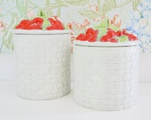 Flour + Sugar Ceramic Handpainted Berry Basket Bins