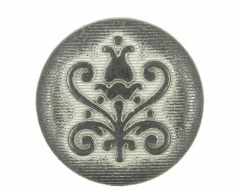 Metal Buttons - Vine Rose Metal Buttons , Gunmetal White Color , Shank , 0.79 inch ,10 pcs