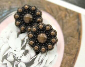 Metal Buttons - Beads Flower Copper Metal Shank Buttons - 0.51 inch - 10 pcs