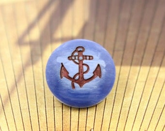 Retro Blue Resin Shank Buttons with Black Hemp Rope and Anchor Pattern, 0.67 inch (10 in a set)