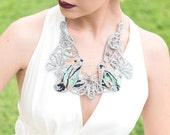 Long Romanian Point Lace Embroidery Necklace/ Avis Australis Silver Bird Talk