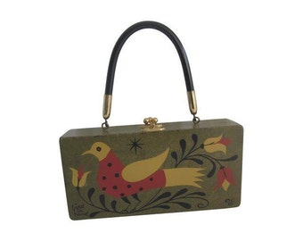 Enid Collins BIRD IN HAND     Wooden Wood Box Bag purse Jewelry  box