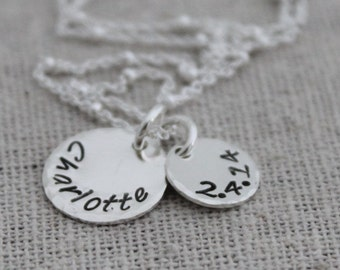name and date mothers necklace | name tag necklace | push present |  custom stamped names necklace | new mom gift | kids name and birthdate