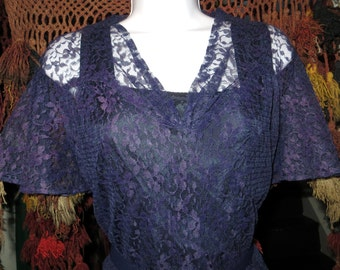 Fantastic 40s Sheer Blue Lace Dress with Underslip, L