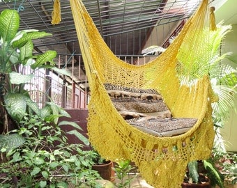 Yellow Sitting Hammock, Hanging Chair Natural Cotton and Wood plus Simple Fringe