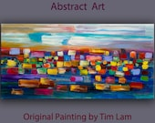 "Huge original Oil painting Modern deco Impasto Texture paint on canvas with wooden frame by Tim Lam 48"" x 24"""