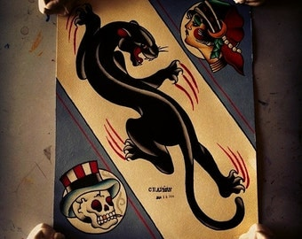 Panther Traditional Tattoo Flash Sheet