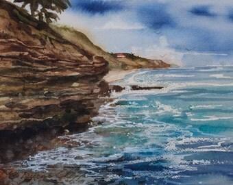 Sunset Cliffs, Watercolor Print, Seascape,  San Diego, Clouds, Ocean, Sea, waves