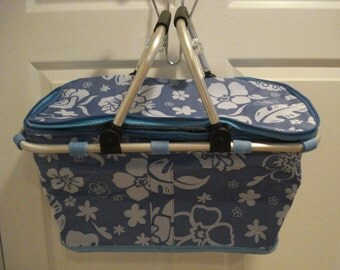 Insulated Periwinkle Collapsible Market Tote Personalized Free Great for the Beach, Pool Parties