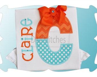 Split Letter Monogram Appliqué Shirt or Bodysuit, Girl and Boy Versions Available, Personalized Monogram Shirt, Custom Embroidery