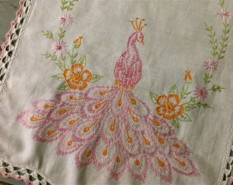 Vintage Pink Peacock Embroidered Scarf Linen